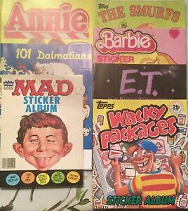 Vintage Sticker Album Lot of 7 Tops Panini Fleer Mad E.T. Annie Etc..Unused
