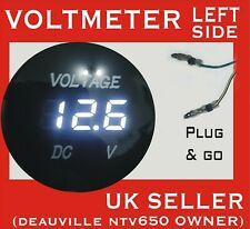 HONDA DEAUVILLE NT650V WHITE VOLTMETER PREWIRED FOR LEFT DASH WITH PUSHFIT TERM
