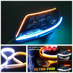 """2-Colors 60cm 24"""" Ultrathin White Amber Flowing Turn Signal LED Light Strip DRL"""