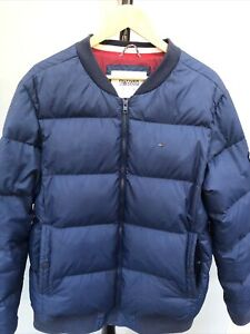 Mens Tommy Hilfiger Denim Navy Quilted Down Bomber Jacket Puffer Padded Coat XXL