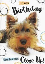 HAPPY BIRTHDAY CARD****YORKSHIRE TERRIER PUPPY DOG****1ST CLASS POST** (X6).