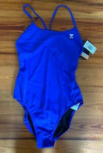 TYR Women's Swimsuit Solid Royal Blue Cutoutfit Size 38 NWT