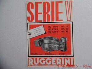 1980 RUGGERINI Serie V Italian Diesel Engine Motor Catalog Brochure Vintage VG