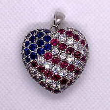 American Flag Heart Crystals Pendant Sterling Silver 925