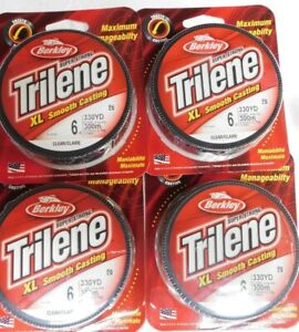 4-Berkley Super Strong Trilene 6 LB 330 Yds XL SMOOTH CASTING Clear Fishing Line