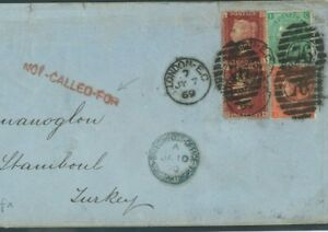 GB Cover London GBPO ABROAD CONSTANTINOPLE *NOT CALLED FOR* RETOUR 1870 O27b