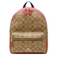 NWT COACH Medium Charlie Backpack Canvas Logo Khaki Poppy Coral Classic 32200