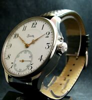 Zenith Chronometer Antique 1917 Large Steel Wristwatch Porcelain Dial