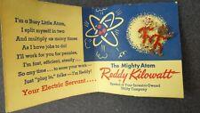 Vintage 1955 Reddy Kilowatt Earrings or Lapel Pins On Mighty Atom Original Card