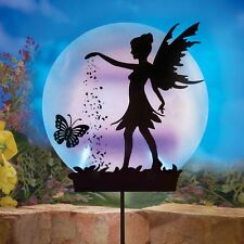 Solar Powered Lighted Tinkerbell Fairy Shadow Silhouette Garden Stake
