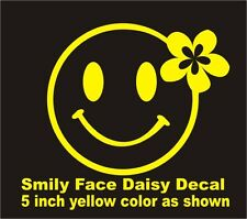 Car Window Vinyl Decal Sticker- Smiley Face with daisy flower