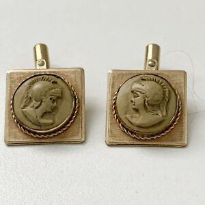 Vintage Destino Greek Roman Soldier God Cuff Links Mens Womens Gold Tone