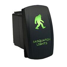 Rocker Switch 6B20G Laser eched SASQUATCH LIGHTS LED green CAR Truck 12V 20A