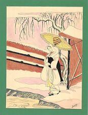 Dessin encre de chine & aquarelle Japon Hand made china ink signé Geneviève n16