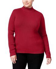 5035696746 Karen Scott Womens Sweater Red Ribbed Mock Neck Long Sleeve Pullover Plus 2x