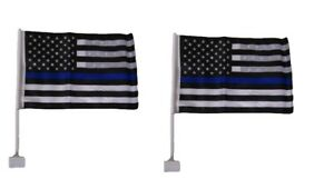 (2 Pack) 12x18 USA Police Thin Blue Line Double Sided Car Window Vehicle Flag