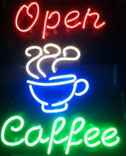 "New Coffee Open Cafe Shop Bar Pub Light Lamp Neon Sign 17""x14"""
