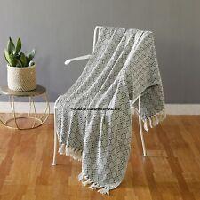 "Large Cotton Herringbone Sofa Throws Single Bed Throw Arm Chair Indian Black 60"""