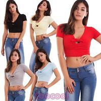 Maglia donna top corta maglietta scollo V fiocco costine t-shirt nuova CJ-2553