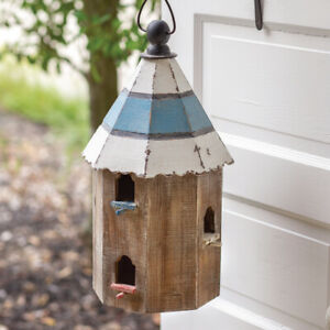 """Birdhouse BEAUTIFUL LARGE Wooden Round/Octagon Birdhouse 20""""H w/6 holes FINCH"""