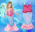 Rose Filles Enfants Queue De Sirène Baignable Maillot De Bain Bikini