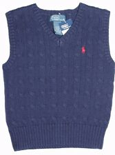 NWT Polo Ralph Lauren Toddler Boy's V-Neck Sweater Cable Vest Navy Blue 3T
