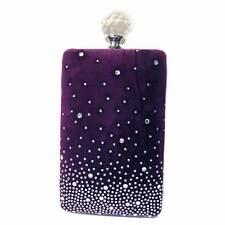 PURPLE VELVET PERFUME BOTTLE CRYSTAL BEAD EVENING CASE PURSE CLUTCH BAG