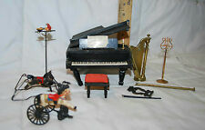VINTAGE DOLLHOUSE MINIATURE PIANO WITH BENCH HARP MUSIC STAND & ROCKING HORSE