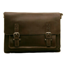 Edward Robertson - Brown Satchel Style Josh Messenger Bag in Buff Smooth Leather