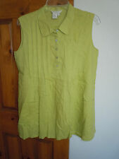 Sandro Sportswear women's sleeveless half button linen blend shirt size L green