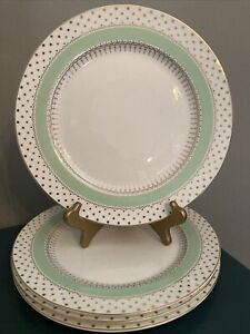 """4 Grace's Teaware Polka Dots Mint Green Gold Accents 10-1/2"""" Dinner Plates NEW"""