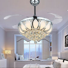 Remote Control Folding Ceiling Fan Lamp Led Crystal Chandelier Modern Lamp Light