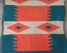 NATIVE Southwestern Hand Crochet AFGHAN Cabin Bedspread  60 X 70
