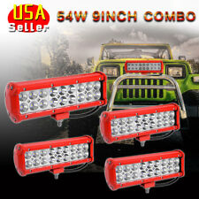 "4X 54W 9"" Spot/Flood LED Work Light Bar for Offroad Lamp Driving Fog SUV 4WD"