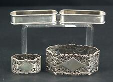 Pair Antique Gorham Sterling & 2 Dutch 833 Silver Napkin Rings, No Reserve!