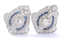 18Kt / Platine Vintage Ancien Européenne Diamant et Saphir Boucles 3.00Ct