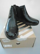 NEW  SIZE 4.5 FITFLOP SUPER CHELSEA ALL BLACK PATENT LEATHER ANKLE BOOTS