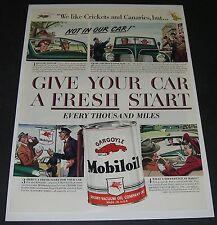 Print Ad 1941 Mobil MOBILOIL ART Give your Car a fresh Start every 1000 Gargoyle