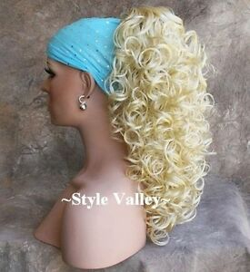 Light Blonde CurlyClaw CLIP in/on Hairpiece Long Bleach blde Ponytail Hair Piece