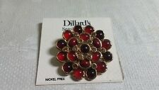 Dillard's GT Metal Filigree Yellow Crystal Carnelian Cabochon Disk Brooch Pin