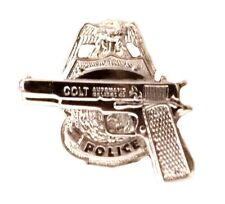 Police Badge Pistol Tie Tac Colt Semi Auto Police Officer Shield Silver 3613 New