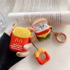 3D Cartoon Fries Earphone Headset Airpods Charge Case Cover For Airpod + Ring