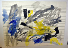 """24"""" Vintage Watercolor Painting Abstract Symphony Colors Sheet Music"""
