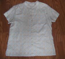 LIZ CLAIBORNE womens top short sleeve M linen/cotton MEDALLION print EC