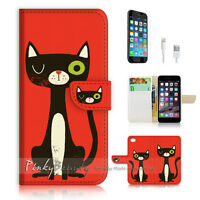 ( For iPhone 6 6S ) Wallet Case Cover  P1358 Cat