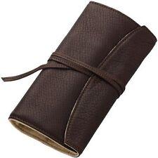Pilot Roll Pen Case Cowhide Leather Pensemble for Five Pens Dark Brown new .