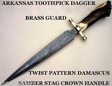 CUSTOM DAMASCUS STEEL BOWIE KNIFE / DAGGER SWORD / STAG CROWN ARKANSAS TOOTHPICK