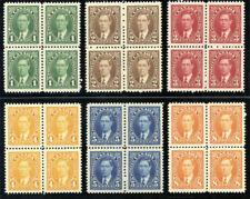Canada 1937 KGVI short set in blocks to 8c superb MNH. SG 357-362. Sc 231-236.