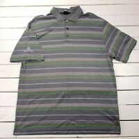 Nike Tiger Woods Golf Polo Mens XL Gray Striped Performance Short Sleeve P130