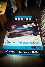 PHILIPS VHS VIDEO PLAYER 4x6 ft Original Vintage Advertising Poster
